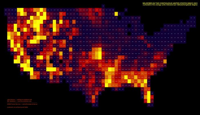 16. Wildfires by county since 2001.