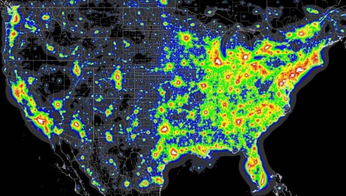 10. Light pollution by county.