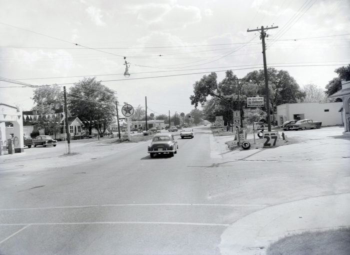 11. A view of US52 (Market Street) in Cheraw in 1960. Notice that one lonely light swinging over the middle of the street.