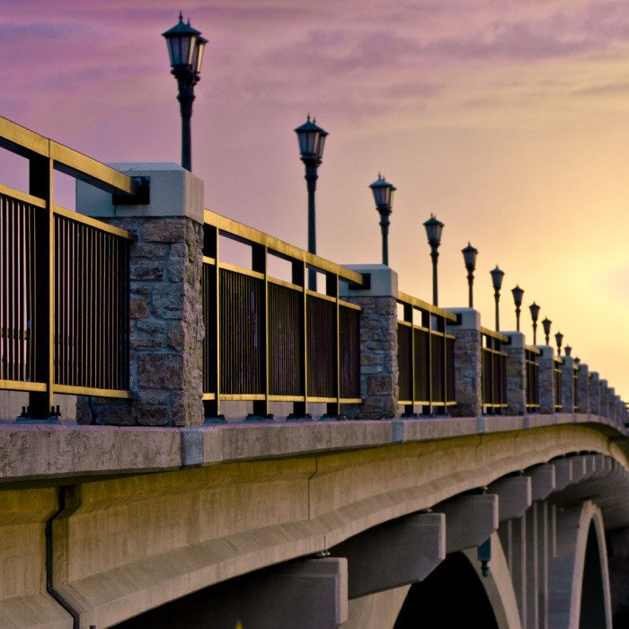 8. Lake Street in Minneapolis is a wonderful spot to walk at sunset and capture views of the entire city.
