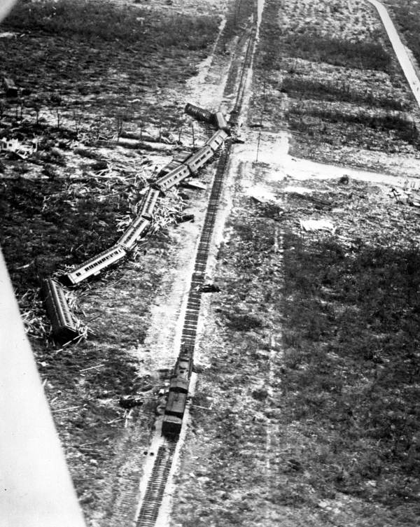 Rescue train swept off the tracks by the 1935 Labor Day hurricane