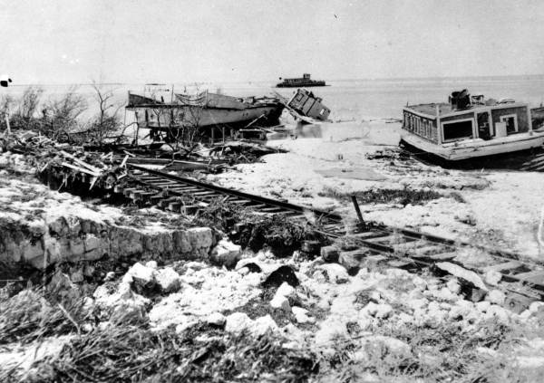 Wrecked houseboat and ferry near the washed out railroad bed - Lower Matecumbe Key