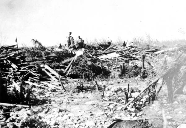 A search party looking for bodies in the debris - Upper Matecumbe Key