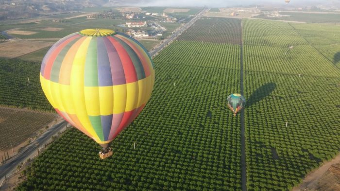4. Up, up and away in Temecula, with a breathtaking view from a hot air balloon.