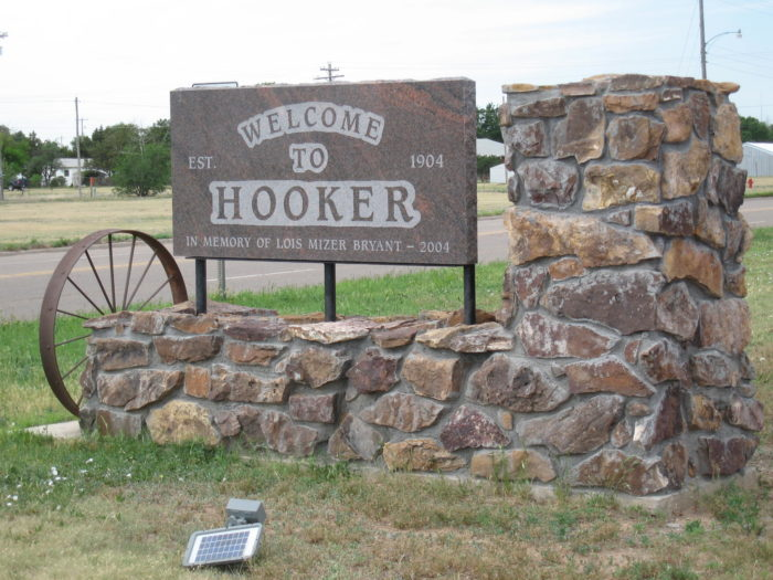 1. Hooker -  It's a location not a vocation, so get your mind out of the gutter. As if the town name isn't bad enough, the baseball team is called the Horny Toads.