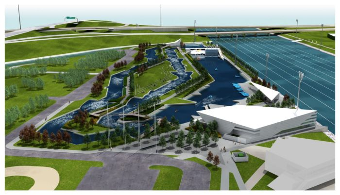 An aerial view of Riversport Rapids shows just how expansive the facility is.