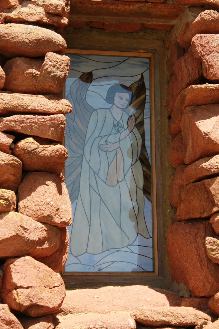 This beautiful stained glass window is a nice contrast to the granite.