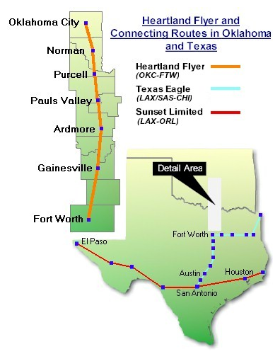 The Heartland Flyer Route starts in Oklahoma City and makes stops in Norman, Purcell, Pauls Valley, Ardmore and Gainseville before arriving at its destination in Fort Worth, TX.
