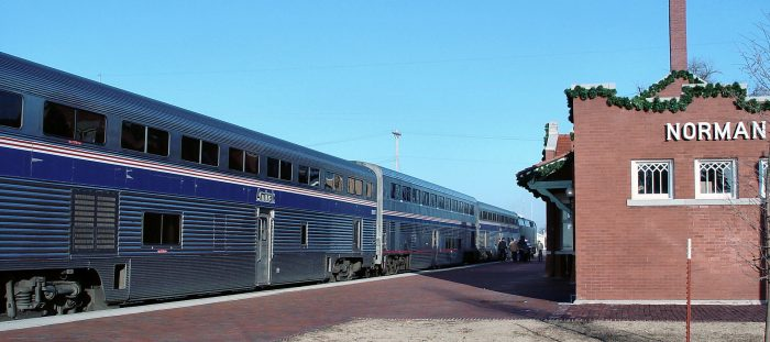 The first stop after leaving the Santa Fe Depot in Oklahoma City will be in Norman.