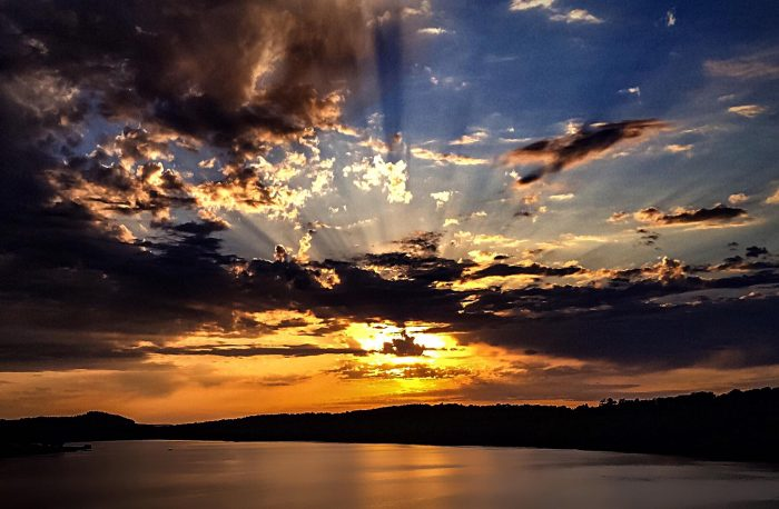1. A stunning sun setting over Wister Lake.