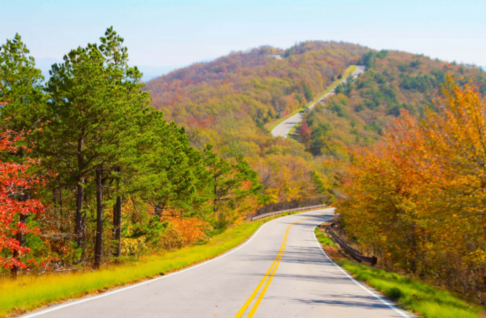 19. Every day on the Talimena Scenic Drive is stunning, but the fall colors give it an extra pop of colorful beauty.
