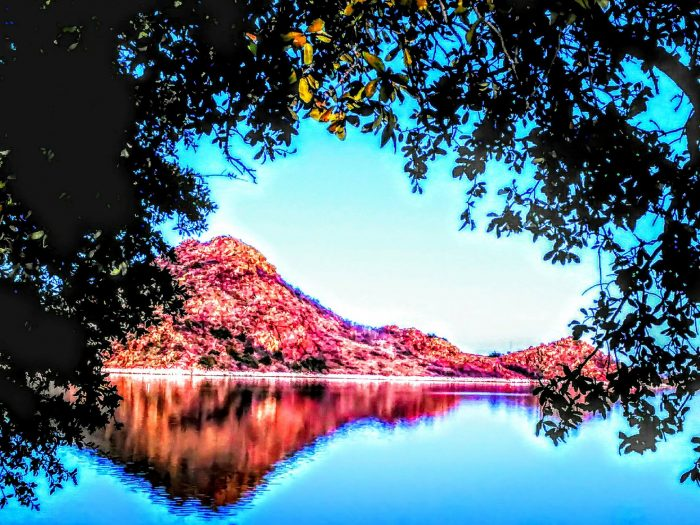 9. The reflected beauty of Quartz Mountain shines boldly.