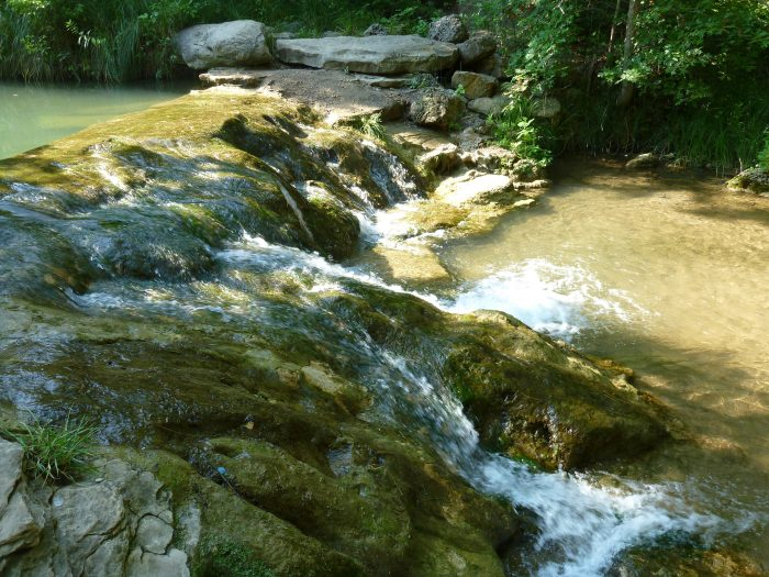 Throughout the Travertine District there are small waterfalls flowing over ledges.