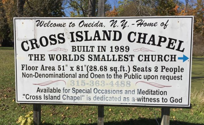 Just as the sign says below, this unique church in Oneida comes in at just under 30 square feet. Wow!