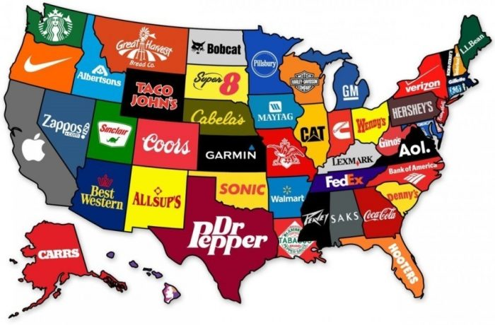 11. Most recognizable brand in each state.
