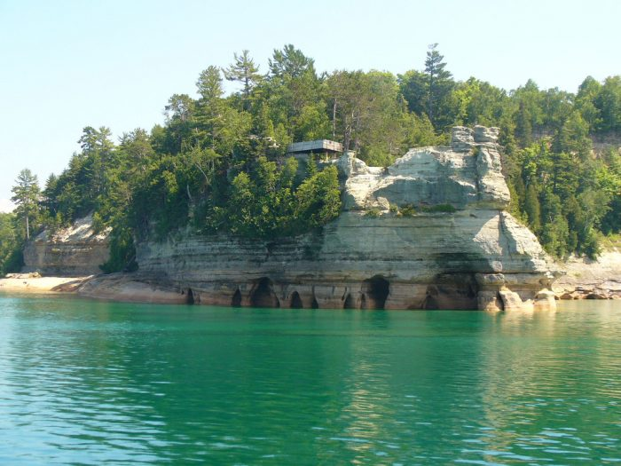 Miners Castle is among the most famous rock formations of Pictured Rocks and is accessible by car and trails.