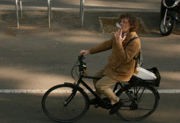 2. Smoking while cycling.