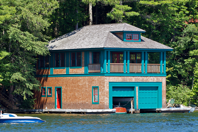 10. This home in Sunapee does double duty as a boathouse and cabin in one.