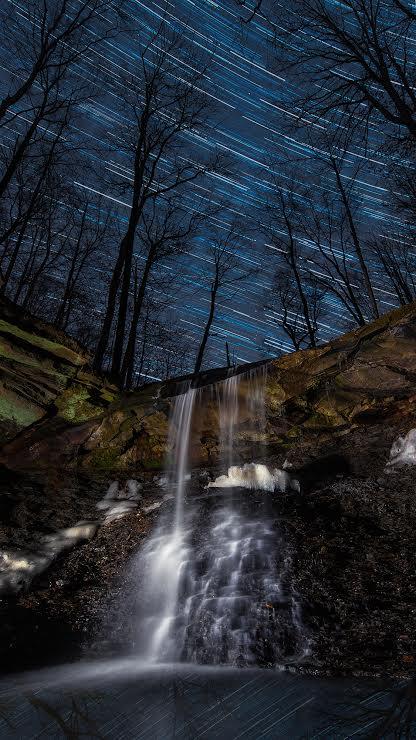 5. Blue Hen Falls near Brecksville at night is spine-tinglingly beautiful.
