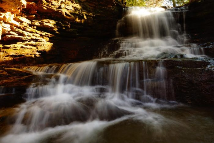 13. Pictured is Honey Run Falls in the afternoon sun in Knox County.