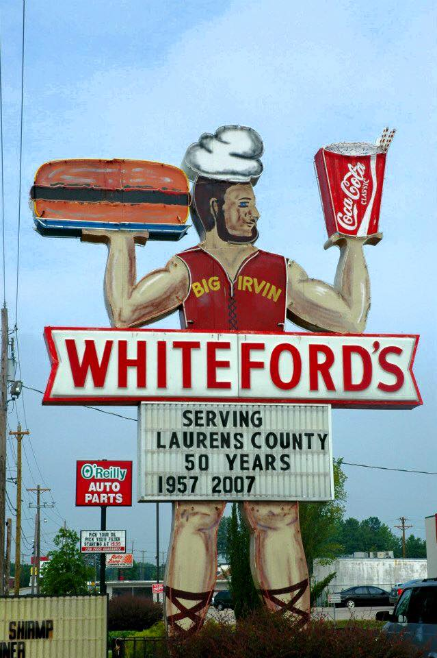 5. Fill up at a landmark: Whiteford's Giant Burger - Laurens