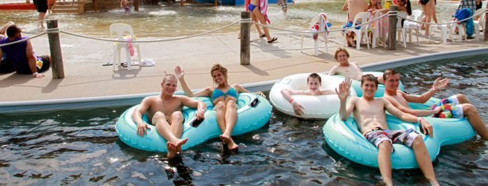 An amazing waterpark with slides, a splash area, and a lazy river to cool off...