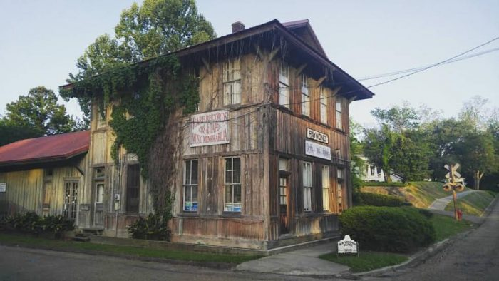 The depot once served the Little J Railroad, which traveled from Natchez to Jackson. Constructed in approximately 1889, the building is now listed on the National Register of Historic Places.