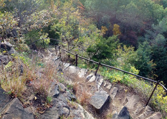 The Giant Steps Trail is literally a staircase that has been carved into the ledge for your hiking convenience!