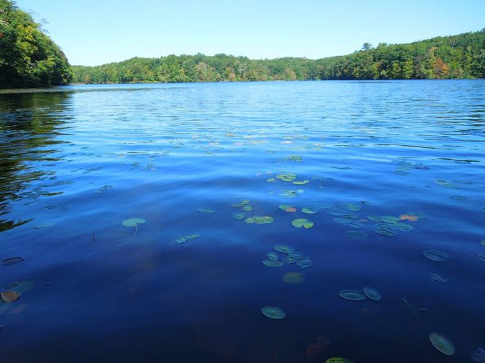 2. Pattaconk Lake is a picturesque body of water with a sandy beach-like entry.