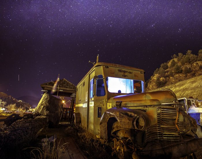 3. The distant stars.... the lighted abandoned truck... all perfection.