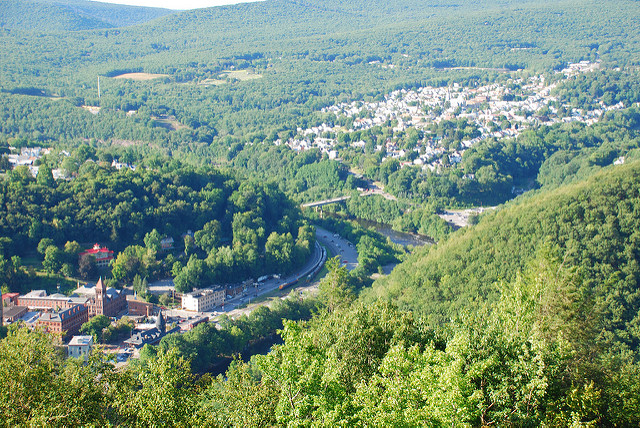 "A beautiful aerial view of Jim Thorpe. The town's original name, Mauch Chunk, means ""Bear Mountain."""