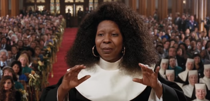 "10.	1992: Whoopie Goldberg stars as a Reno lounge singer disguised as a singing nun in the film, ""Sister Act"""