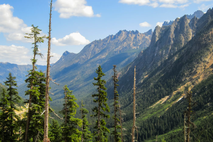 11. The North Cascades in July, as seen from the side of Highway 20 near the Hairpin Curve.