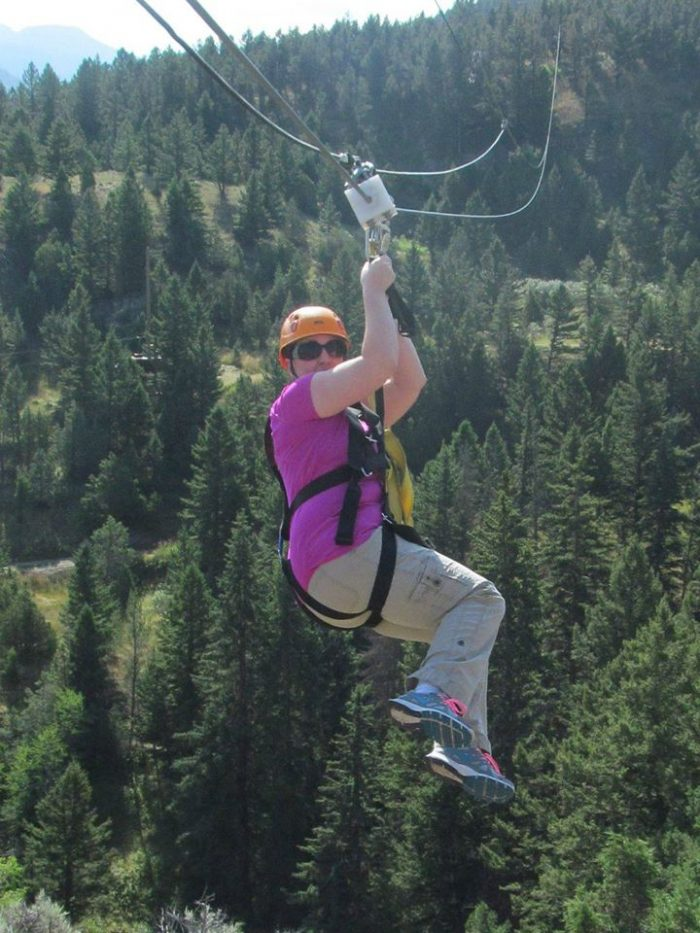 9. This brave soul is on a zipline tour near Yellowstone.