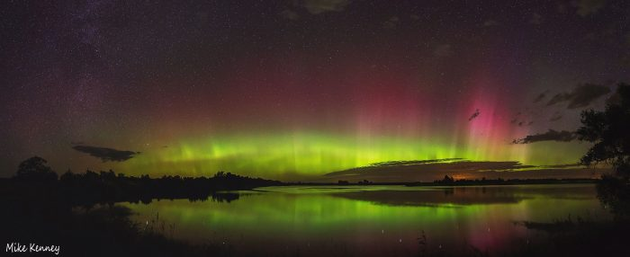 9. The glowing northern lights appear to be beaming up from another planet.