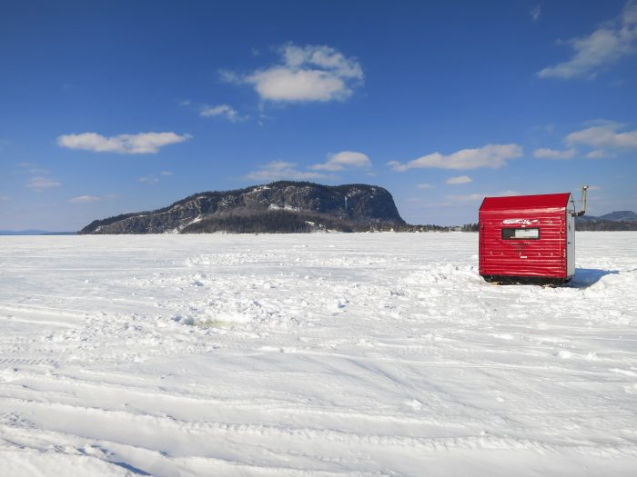 10. Hang out in little houses atop frozen lakes to catch tiny fish.