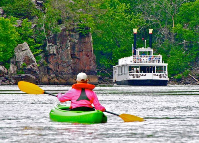 The last river activity available is adventuring on your own, whether you're boating, swimming, or renting a kayak or canoe from Taylors Falls Canoe and Kayak Rental.