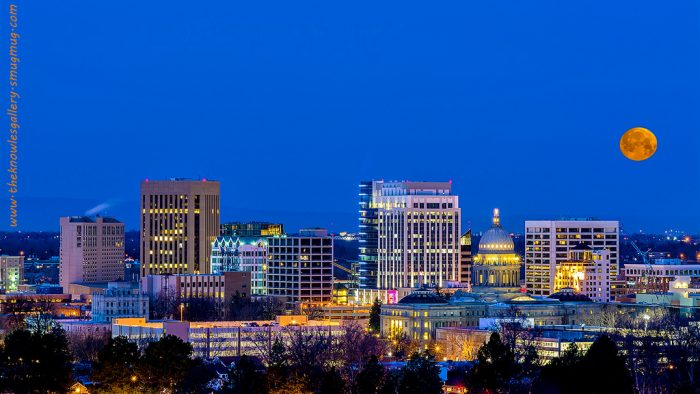 9. An ominous blood moon captured in downtown Boise.
