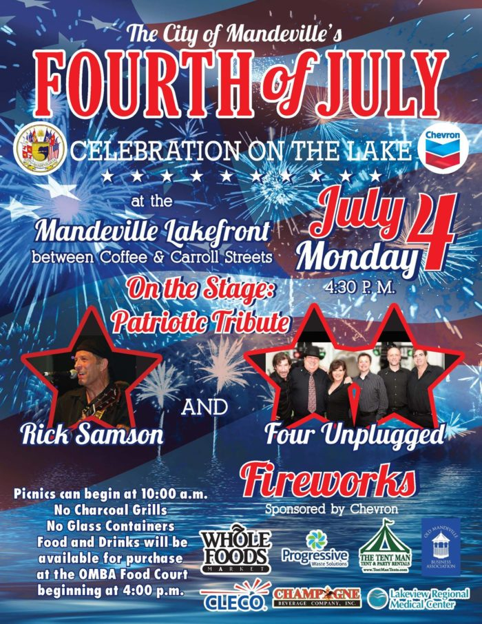 4) Fourth of July Celebration on the Lake, Mandeville, Monday July 4th