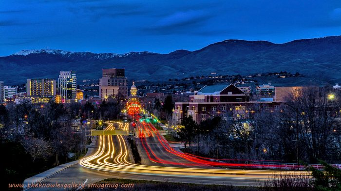 2. This quintessential shot of downtown Boise from the train depot gets a unique touch with long exposure and the glow of city lights.