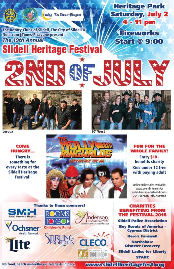 5) Slidell Heritage Festival, Saturday July 2nd