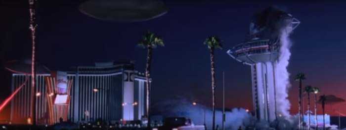"14. 1996: Footage from the 1995 implosion of the Landmark Hotel in Las Vegas is used in Tim Burton's film, ""Mars Attacks"""