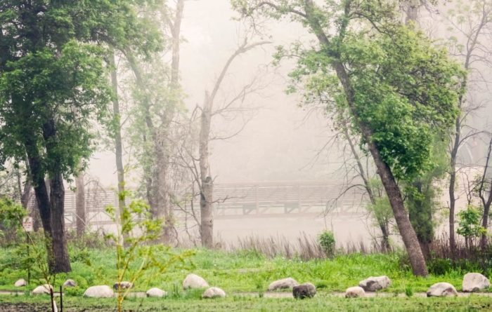 6. This foggy morning shot is of a bridge in Lindenwood Park, Fargo