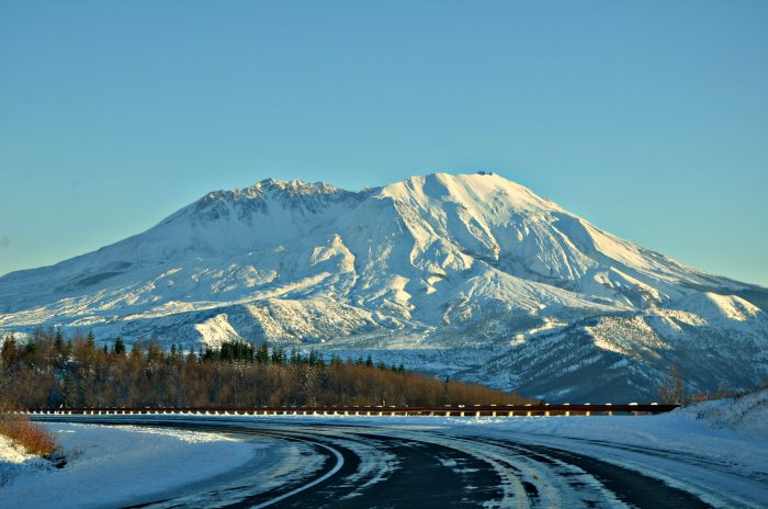9. Driving by Mount St. Helens on a cold, snowy day.