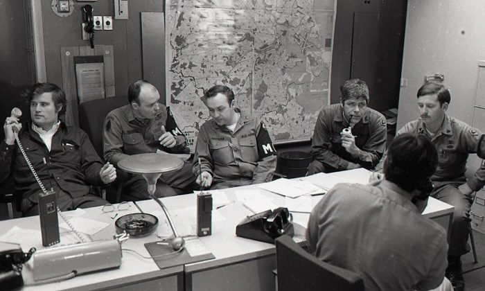547 soldiers from Texas, shown discussing tactics here, were sent in to help combat the twenty-five million dollars in damage and the hundreds who had to be evacuated from the coastal areas. President Carter declared Connecticut, Rhode Island and Massachusetts federal disaster areas and the state governor shut everything down on the local level.