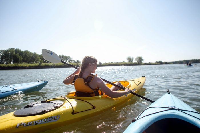 8. Take a trip on the Missouri River whether in a kayak or canoe, or on a riverboat. Or you can dive in yourself, of course.
