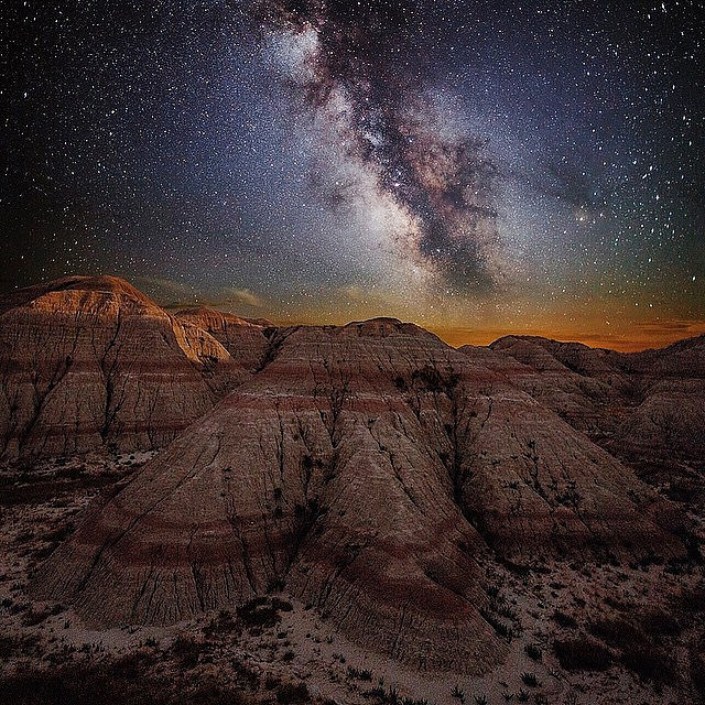 2. This may look like the terrain of another world but it's actually the Badlands at night.