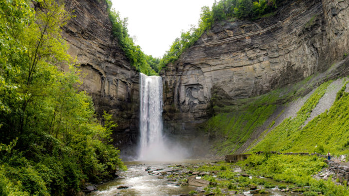 Located inside of Taughannock Falls State Park, you'll find the featured attraction, a 215-foot waterfall.