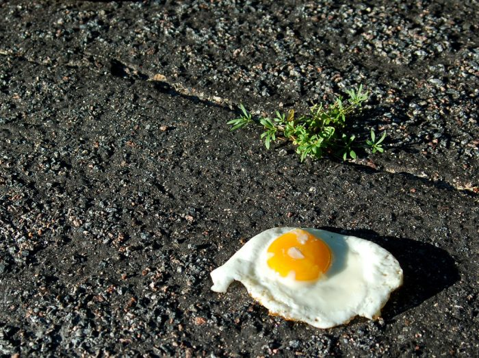 1. Attempt to fry an egg on the sidewalk. Can it be done?