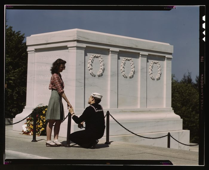 14. A sailor and girl at the Tomb of the Unknown Soldier in Washington, D.C.
